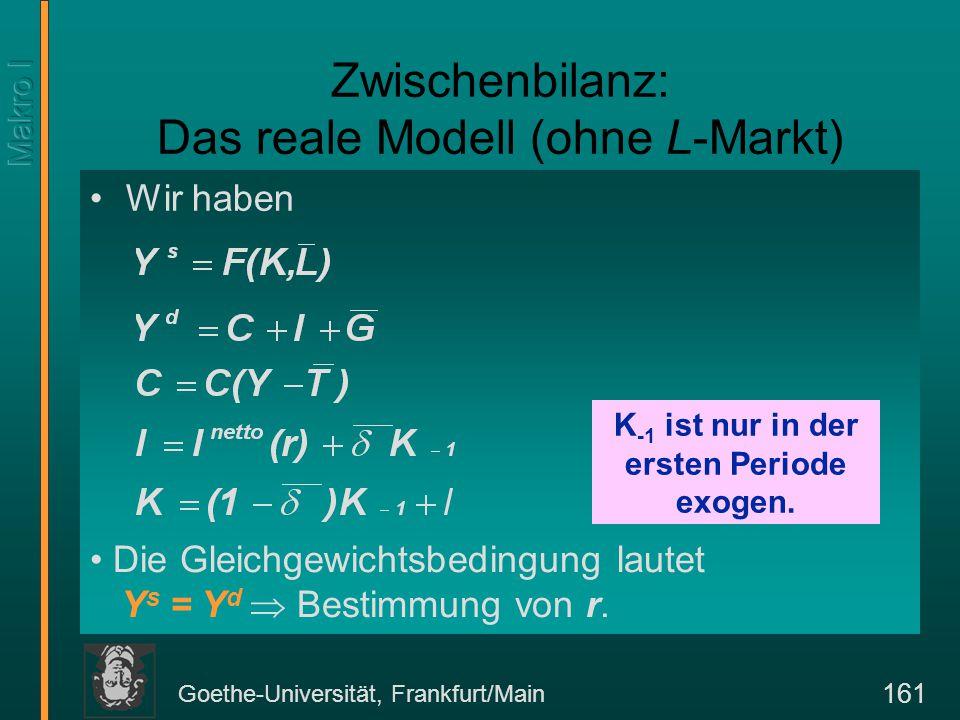 Goethe-Universität, Frankfurt/Main 161 Wir haben Zwischenbilanz: Das reale Modell (ohne L-Markt) K -1 ist nur in der ersten Periode exogen. Die Gleich