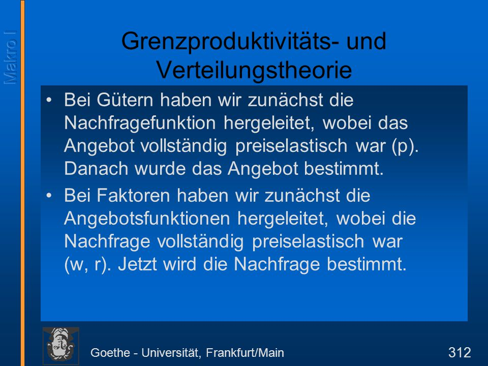Goethe - Universität, Frankfurt/Main 312 Grenzproduktivitäts- und Verteilungstheorie Bei Gütern haben wir zunächst die Nachfragefunktion hergeleitet,