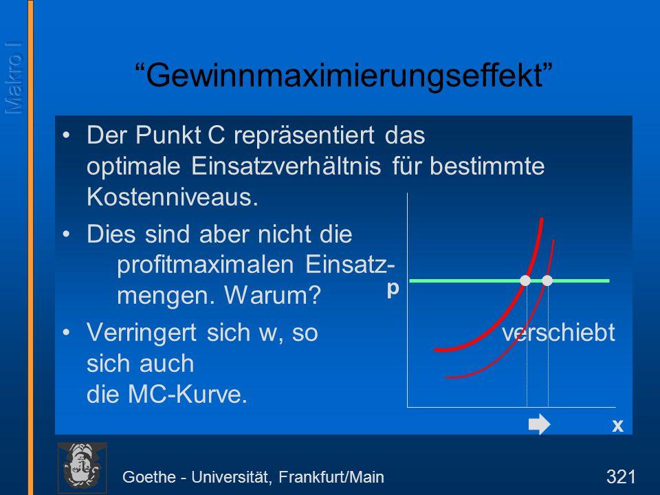 Goethe - Universität, Frankfurt/Main 321 Der Punkt C repräsentiert das optimale Einsatzverhältnis für bestimmte Kostenniveaus. Dies sind aber nicht di