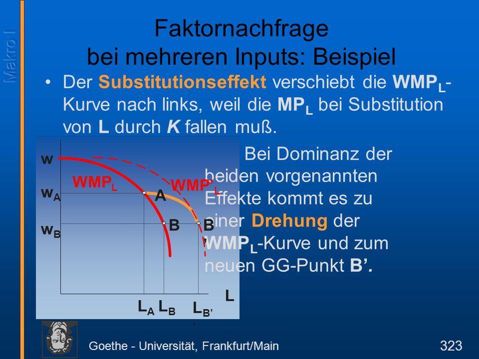 Goethe - Universität, Frankfurt/Main 323 Faktornachfrage bei mehreren Inputs: Beispiel Der Substitutionseffekt verschiebt die WMP L - Kurve nach links