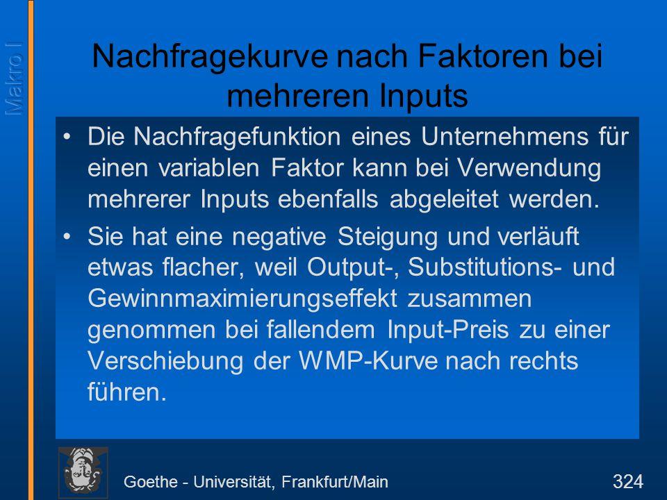 Goethe - Universität, Frankfurt/Main 324 Nachfragekurve nach Faktoren bei mehreren Inputs Die Nachfragefunktion eines Unternehmens für einen variablen