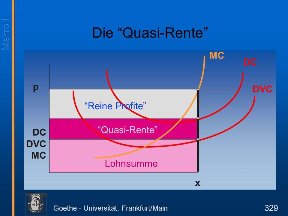 """Goethe - Universität, Frankfurt/Main 329 DC DVC MC p MC x DC DVC Lohnsumme """"Quasi-Rente"""" """"Reine Profite"""" Die """"Quasi-Rente"""""""