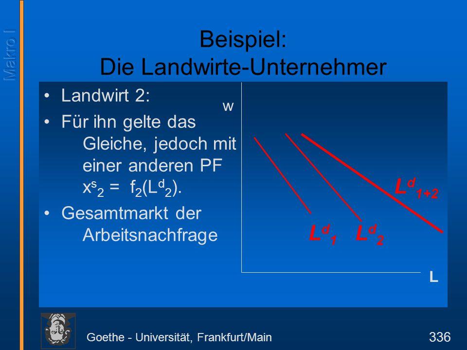 Goethe - Universität, Frankfurt/Main 336 Landwirt 2: Für ihn gelte das Gleiche, jedoch mit einer anderen PF x s 2 = f 2 (L d 2 ). Gesamtmarkt der Arbe