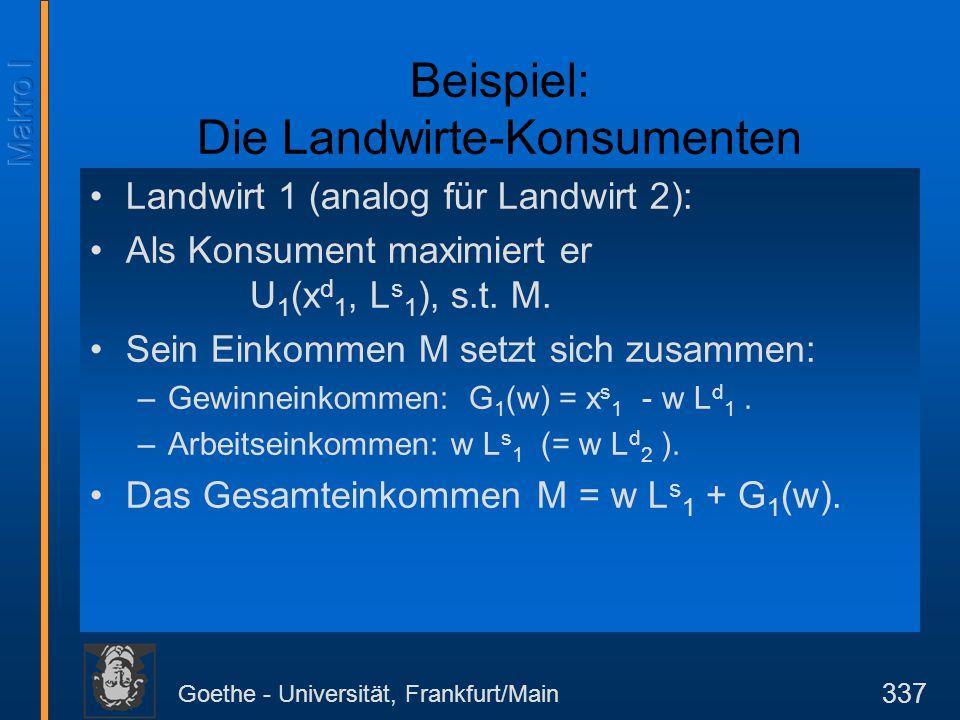 Goethe - Universität, Frankfurt/Main 337 Beispiel: Die Landwirte-Konsumenten Landwirt 1 (analog für Landwirt 2): Als Konsument maximiert er U 1 (x d 1