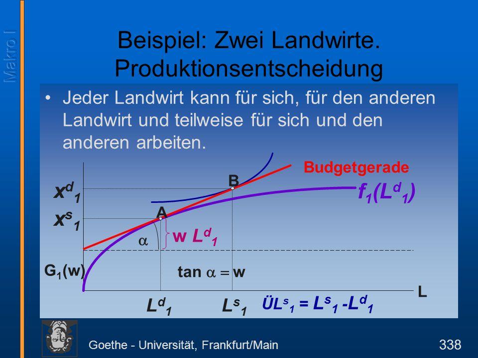 Goethe - Universität, Frankfurt/Main 338 Jeder Landwirt kann für sich, für den anderen Landwirt und teilweise für sich und den anderen arbeiten. L Bud