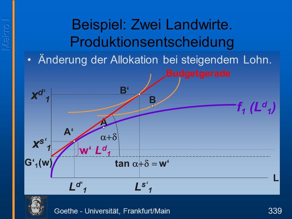 Goethe - Universität, Frankfurt/Main 339 Änderung der Allokation bei steigendem Lohn. L Budgetgerade f 1 (L d 1 ) G' 1 (w)  tan  w' L d' 1 A x