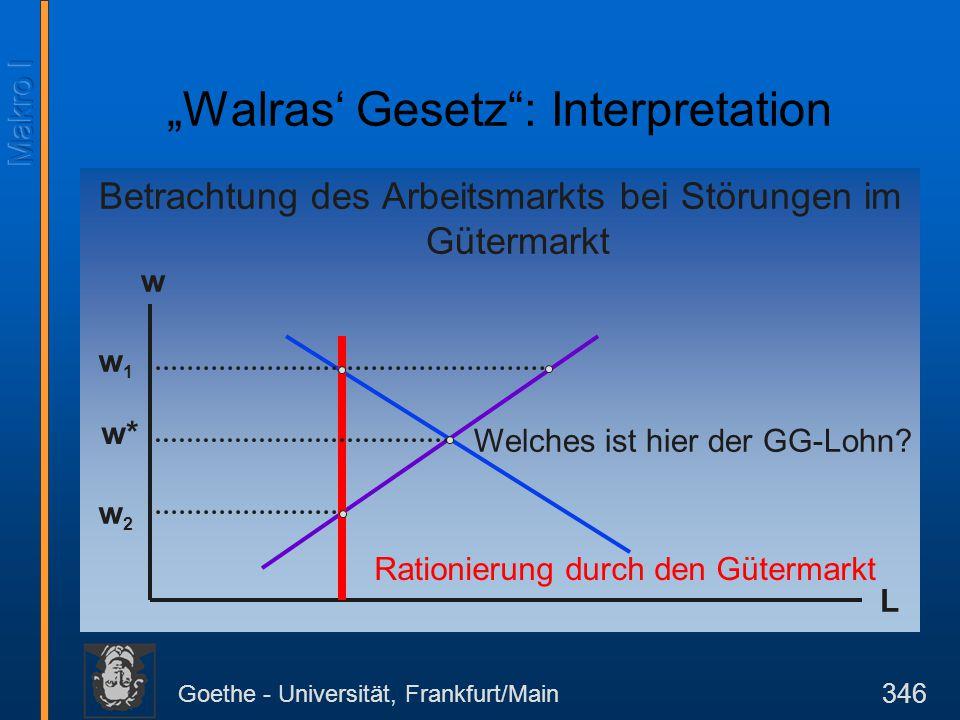 Goethe - Universität, Frankfurt/Main 346 Betrachtung des Arbeitsmarkts bei Störungen im Gütermarkt w L Rationierung durch den Gütermarkt Welches ist h