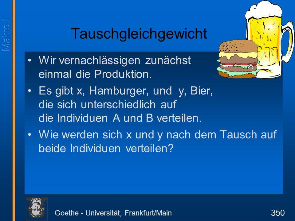 Goethe - Universität, Frankfurt/Main 350 Wir vernachlässigen zunächst einmal die Produktion. Es gibt x, Hamburger, und y, Bier, die sich unterschiedli