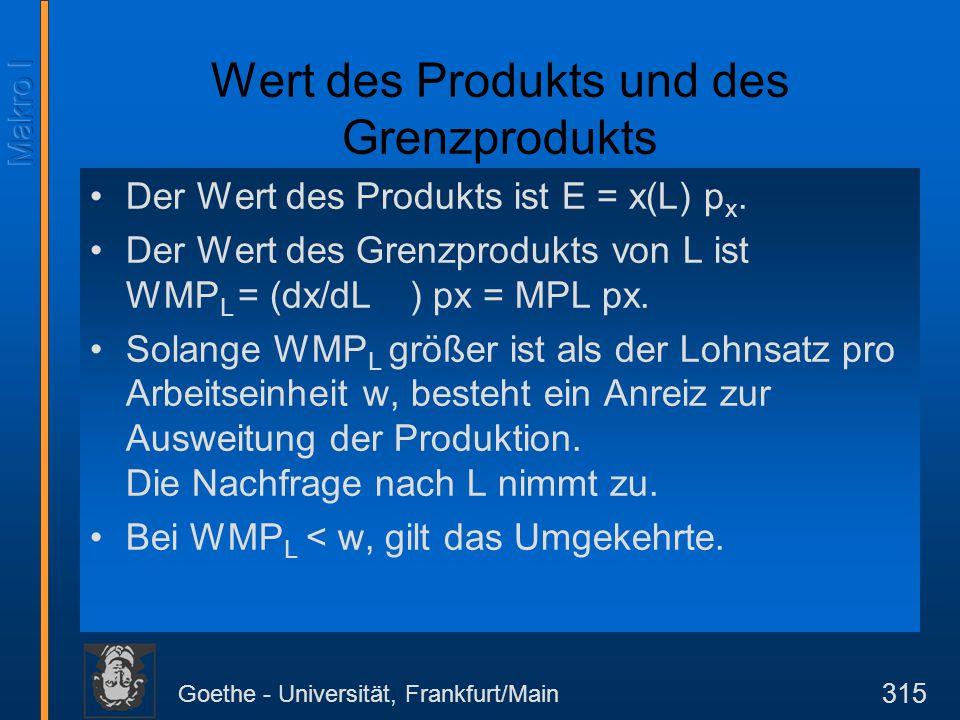 Goethe - Universität, Frankfurt/Main 315 Wert des Produkts und des Grenzprodukts Der Wert des Produkts ist E = x(L) p x. Der Wert des Grenzprodukts vo