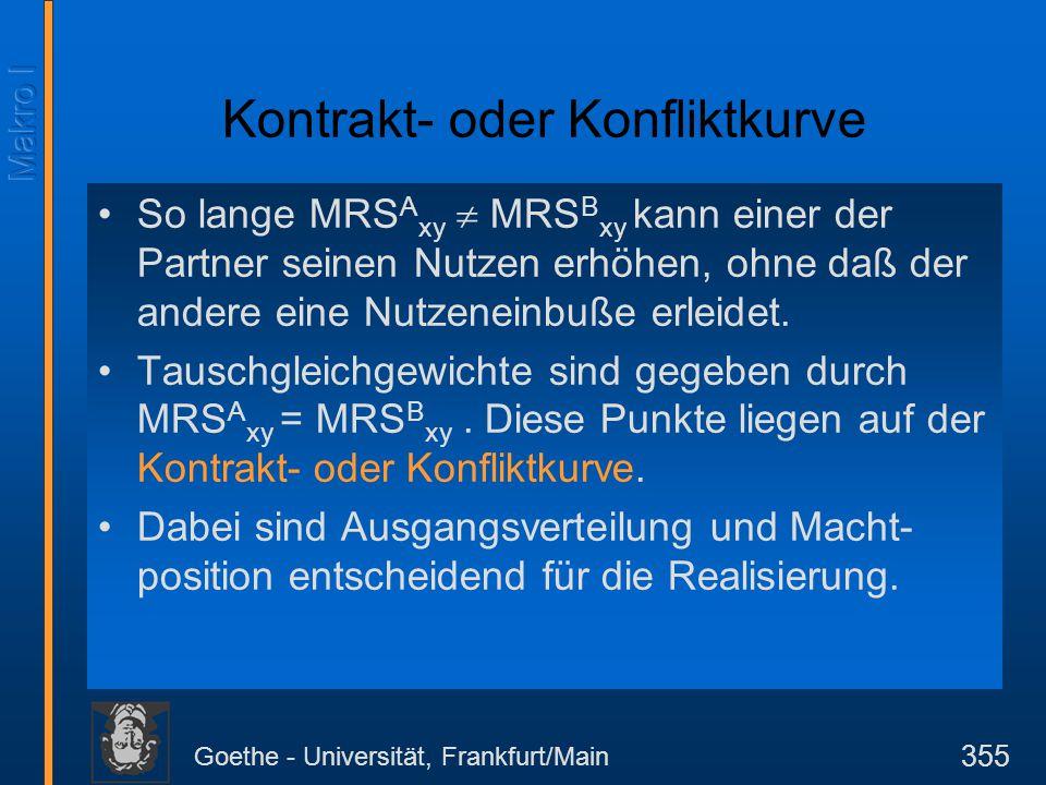Goethe - Universität, Frankfurt/Main 355 Kontrakt- oder Konfliktkurve So lange MRS A xy  MRS B xy kann einer der Partner seinen Nutzen erhöhen, ohne