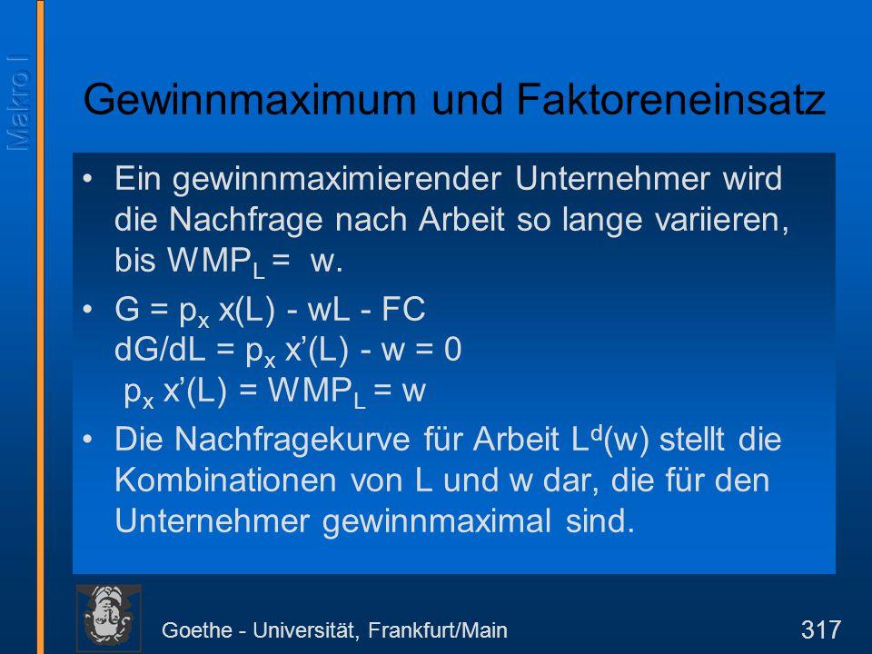 Goethe - Universität, Frankfurt/Main 317 Ein gewinnmaximierender Unternehmer wird die Nachfrage nach Arbeit so lange variieren, bis WMP L = w. G = p x