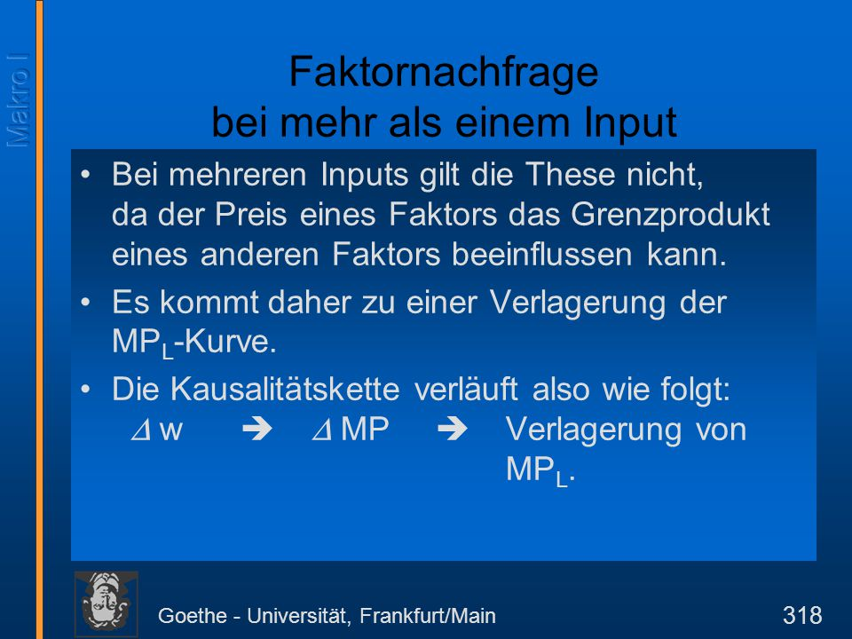 Goethe - Universität, Frankfurt/Main 318 Bei mehreren Inputs gilt die These nicht, da der Preis eines Faktors das Grenzprodukt eines anderen Faktors b