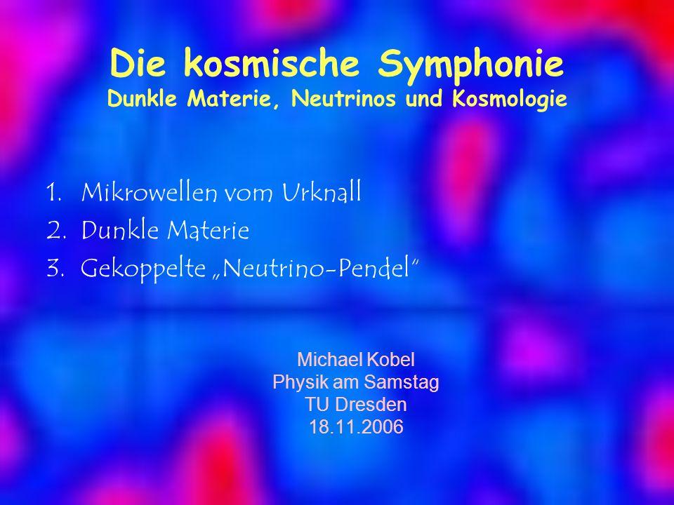 """Die kosmische Symphonie Dunkle Materie, Neutrinos und Kosmologie 1.Mikrowellen vom Urknall 2.Dunkle Materie 3.Gekoppelte """"Neutrino-Pendel Michael Kobel Physik am Samstag TU Dresden 18.11.2006"""