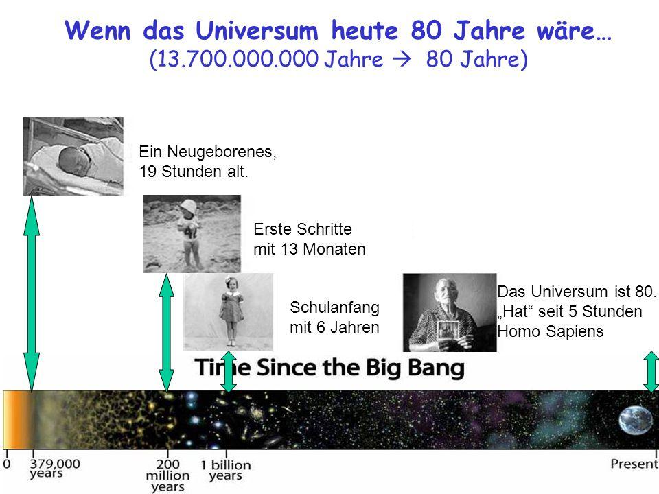 Wenn das Universum heute 80 Jahre wäre… (13.700.000.000 Jahre  80 Jahre) Das Universum ist 80.