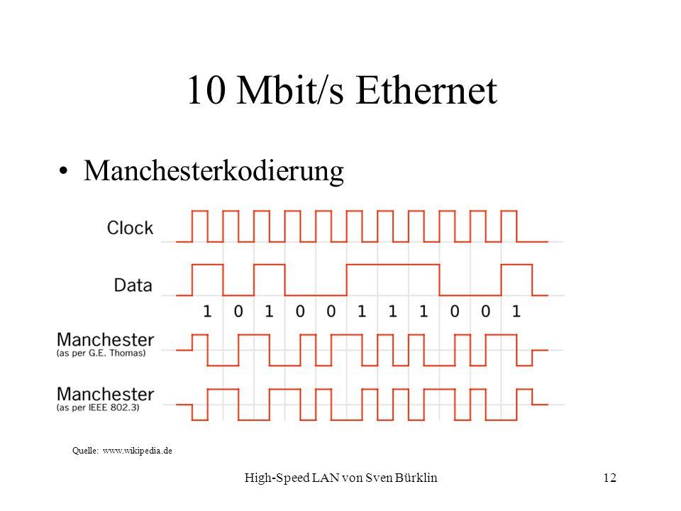 High-Speed LAN von Sven Bürklin 12 10 Mbit/s Ethernet Manchesterkodierung Quelle: www.wikipedia.de