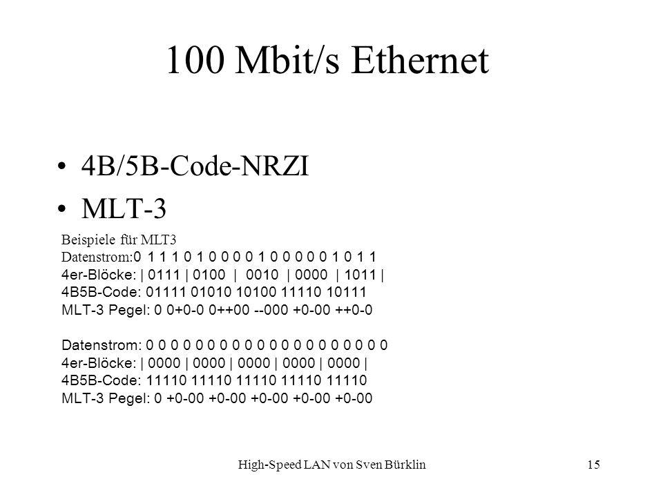 High-Speed LAN von Sven Bürklin 15 100 Mbit/s Ethernet 4B/5B-Code-NRZI MLT-3 Beispiele für MLT3 Datenstrom: 0 1 1 1 0 1 0 0 0 0 1 0 0 0 0 0 1 0 1 1 4e
