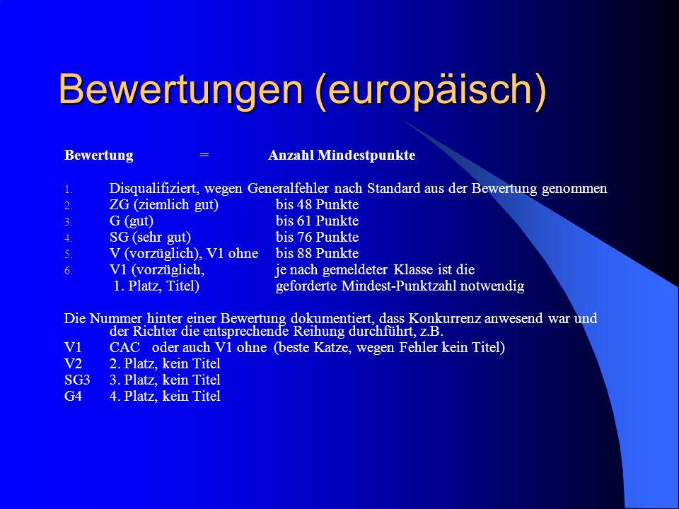 Bewertungen (europäisch) Bewertung = Anzahl Mindestpunkte 1.