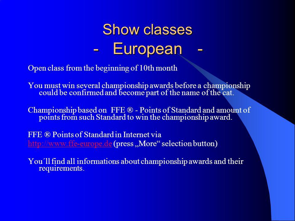 Nominierungen / Nomination - Offene Klasse geschlechtsneutral 3 (!!!) Tiere, - open classsex neutrally max.