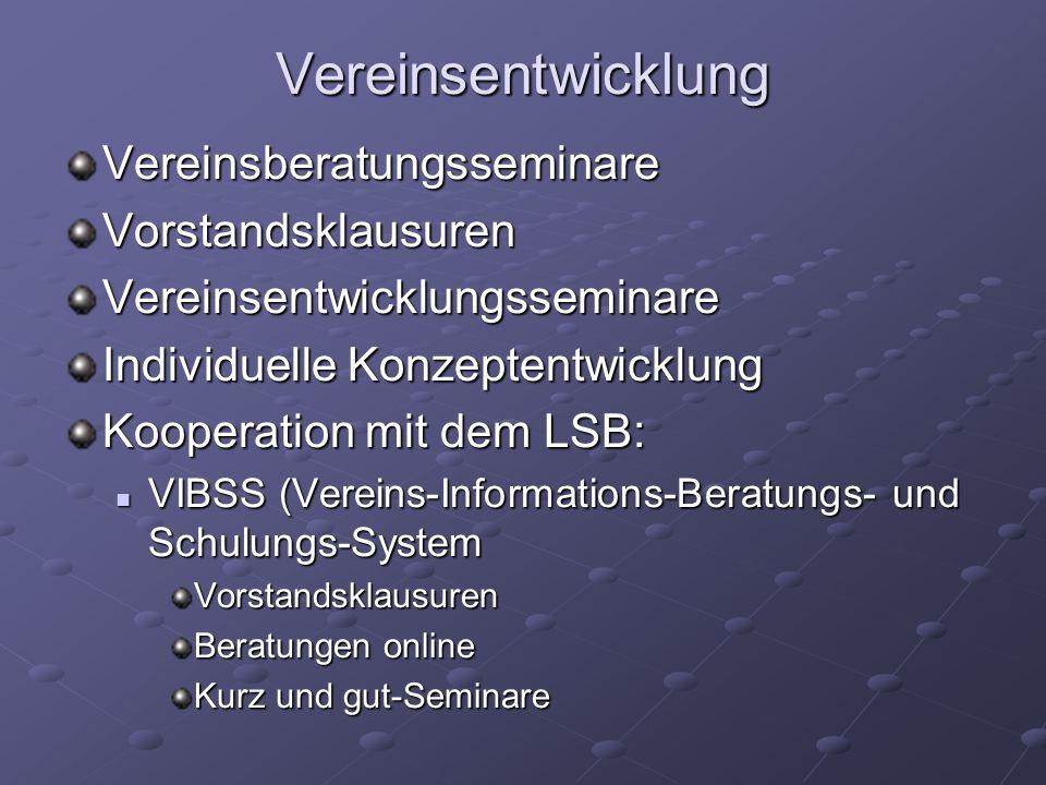Vereinsentwicklung VereinsberatungsseminareVorstandsklausurenVereinsentwicklungsseminare Individuelle Konzeptentwicklung Kooperation mit dem LSB: VIBS