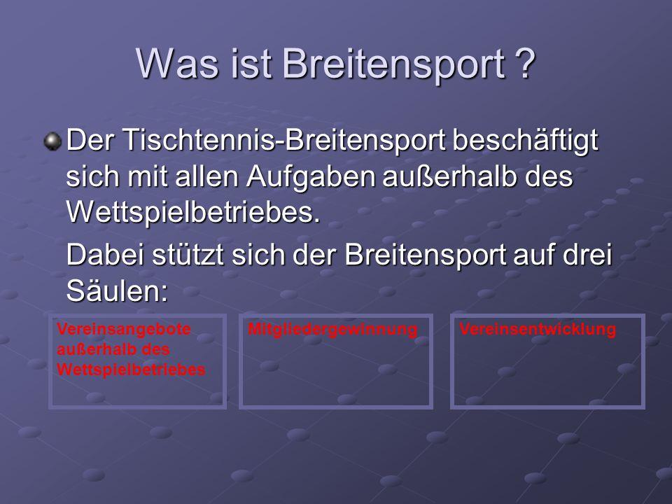 Was ist Breitensport ? Der Tischtennis-Breitensport beschäftigt sich mit allen Aufgaben außerhalb des Wettspielbetriebes. Dabei stützt sich der Breite