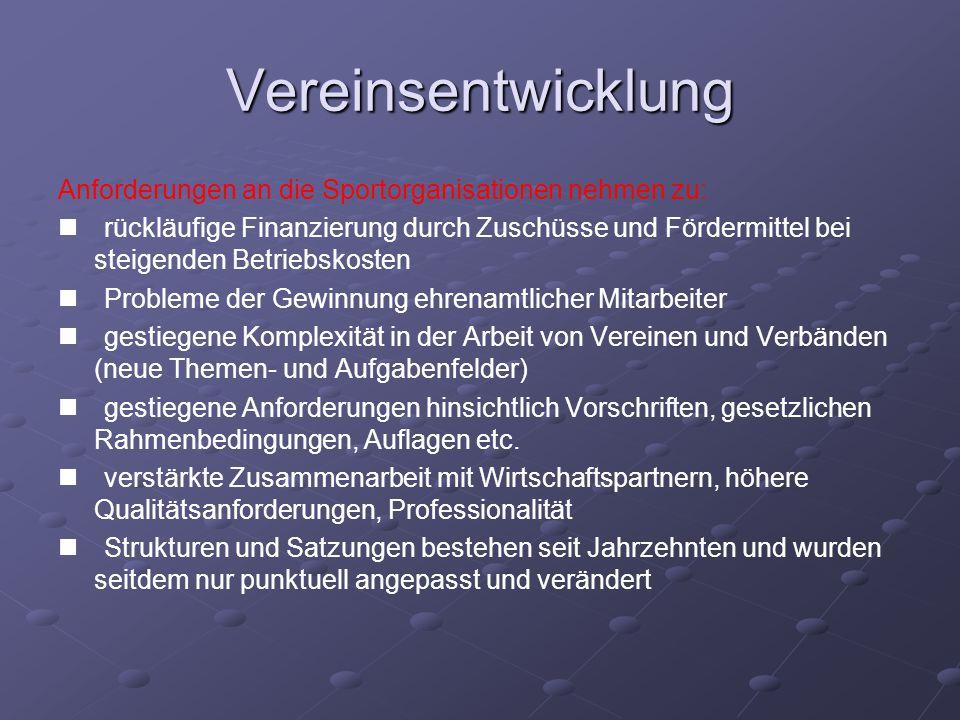 """Vereinsentwicklung Daraus folgt: Die Vereine / Vereinsstruktur müssen sich anpassen, verändern """"entwickeln !!."""