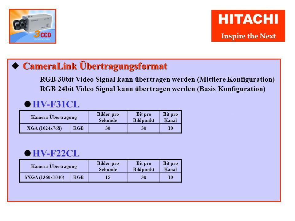 HITACHI Inspire the Next IEEE 1394 Übertragungsformat ◆ IEEE 1394 Übertragungsformat Bei der HV-F22F ist die Bildübertragungsrate fernsteuerbar, so da