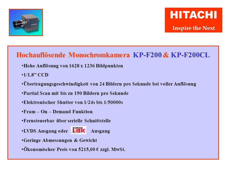 """HITACHI Inspire the Next Progressive Scan VGA Farbkamera KP-FD30 & KP-FD30CL Höchste Farbgenauigkeit und Auflösung durch RGB Farb Mosaik Filter 1/2"""" P"""