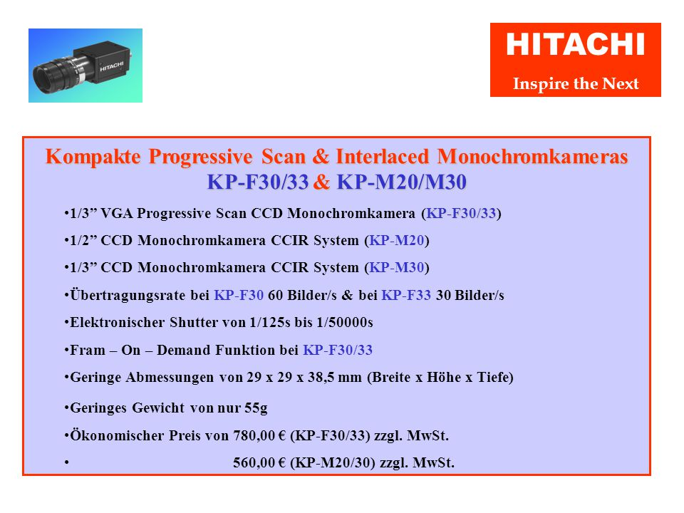 """HITACHI Inspire the Next Hochauflösende Monochromkamera KP-F200 & KP-F200CL Hohe Auflösung von 1628 x 1236 Bildpunkten 1/1.8"""" CCD Übertragungsgeschwin"""