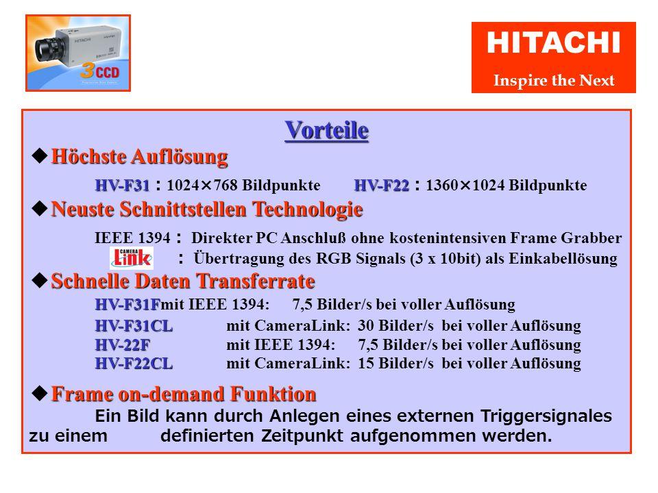 HITACHI Inspire the Next Hitachi 3CCD Progressive Scan Kamera Serie HV-F Digitale Schnittstellen ● Digitale Schnittstellen HV-F31F/F22F HV-F31CL/F22CL