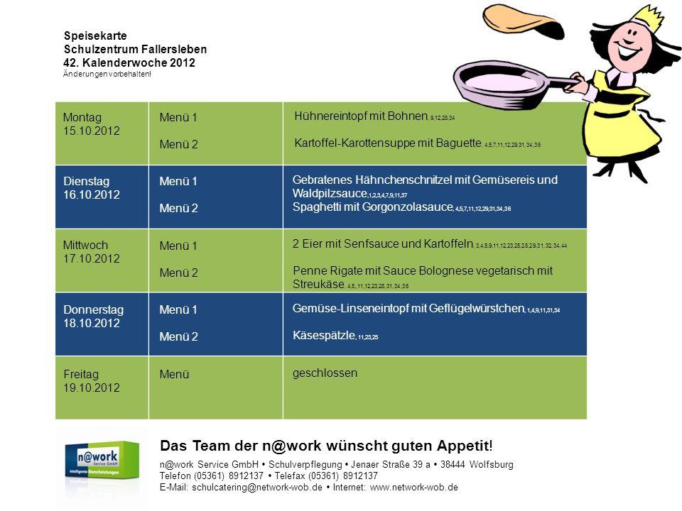 Speisekarte Schulzentrum Fallersleben 42. Kalenderwoche 2012 Änderungen vorbehalten.