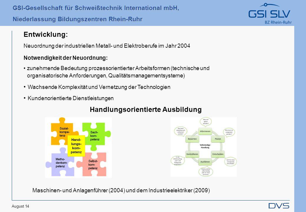 GSI-Gesellschaft für Schweißtechnik International mbH, Niederlassung Bildungszentren Rhein-Ruhr August 14 Entwicklung: Neuordnung der industriellen Me