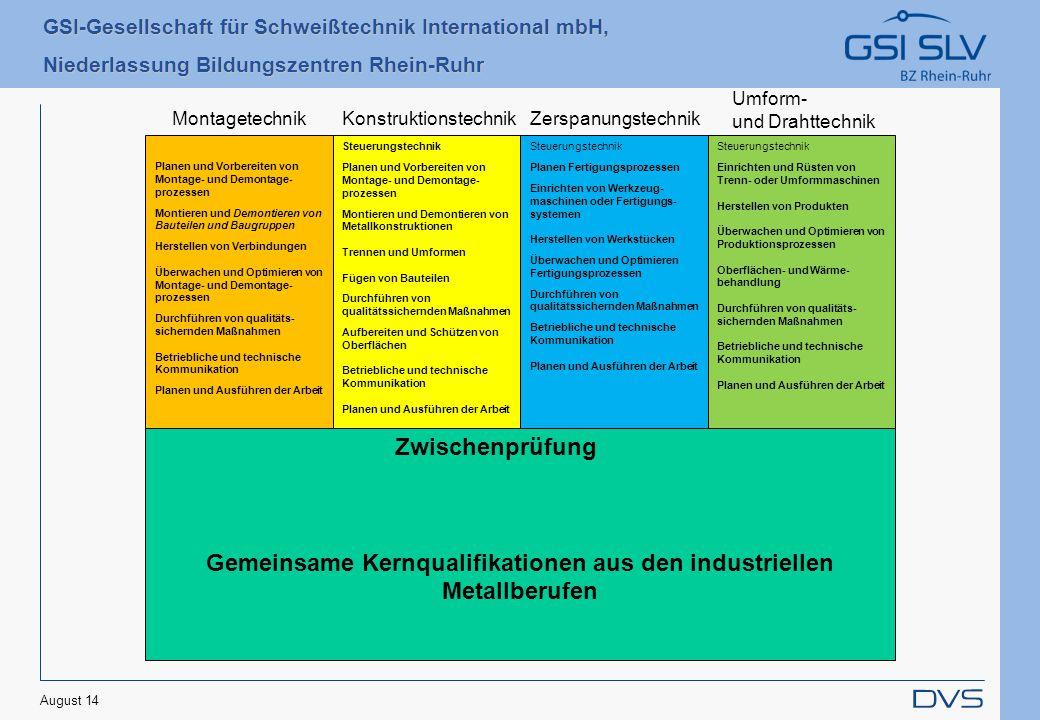 GSI-Gesellschaft für Schweißtechnik International mbH, Niederlassung Bildungszentren Rhein-Ruhr August 14 Gemeinsame Kernqualifikationen aus den indus