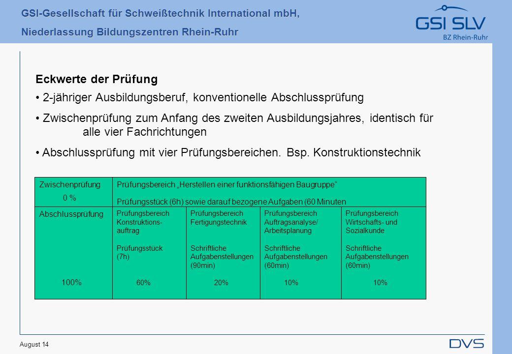 GSI-Gesellschaft für Schweißtechnik International mbH, Niederlassung Bildungszentren Rhein-Ruhr August 14 2-jähriger Ausbildungsberuf, konventionelle