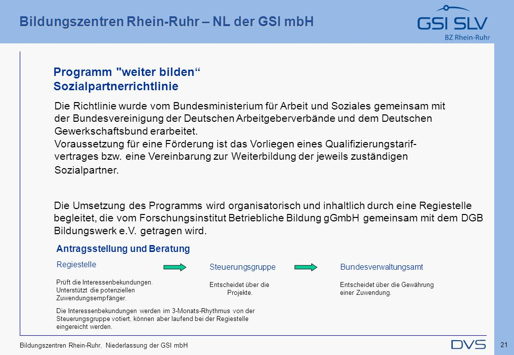 Bildungszentren Rhein-Ruhr – NL der GSI mbH 21 Bildungszentren Rhein-Ruhr, Niederlassung der GSI mbH Die Richtlinie wurde vom Bundesministerium für Ar