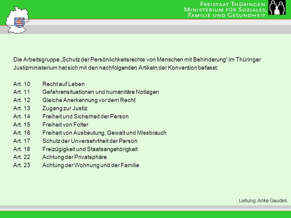 """Titel der Folie Leitung: Eva Morgenroth Die Arbeitsgruppe """"Schutz der Persönlichkeitsrechte von Menschen mit Behinderung"""" im Thüringer Justizministeri"""