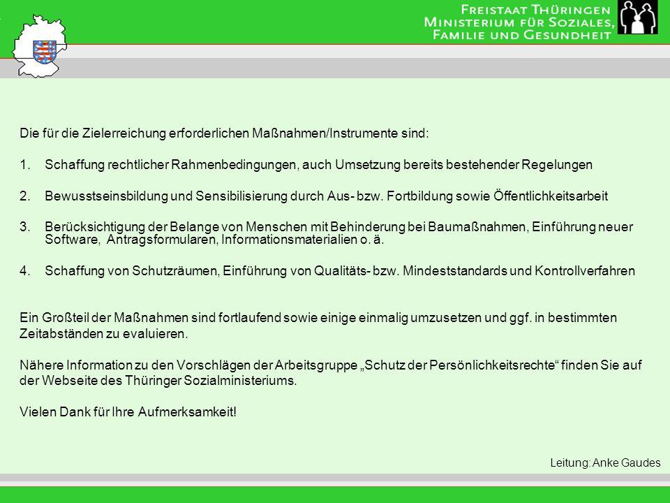 Titel der Folie Leitung: Eva Morgenroth Die für die Zielerreichung erforderlichen Maßnahmen/Instrumente sind: 1.Schaffung rechtlicher Rahmenbedingunge