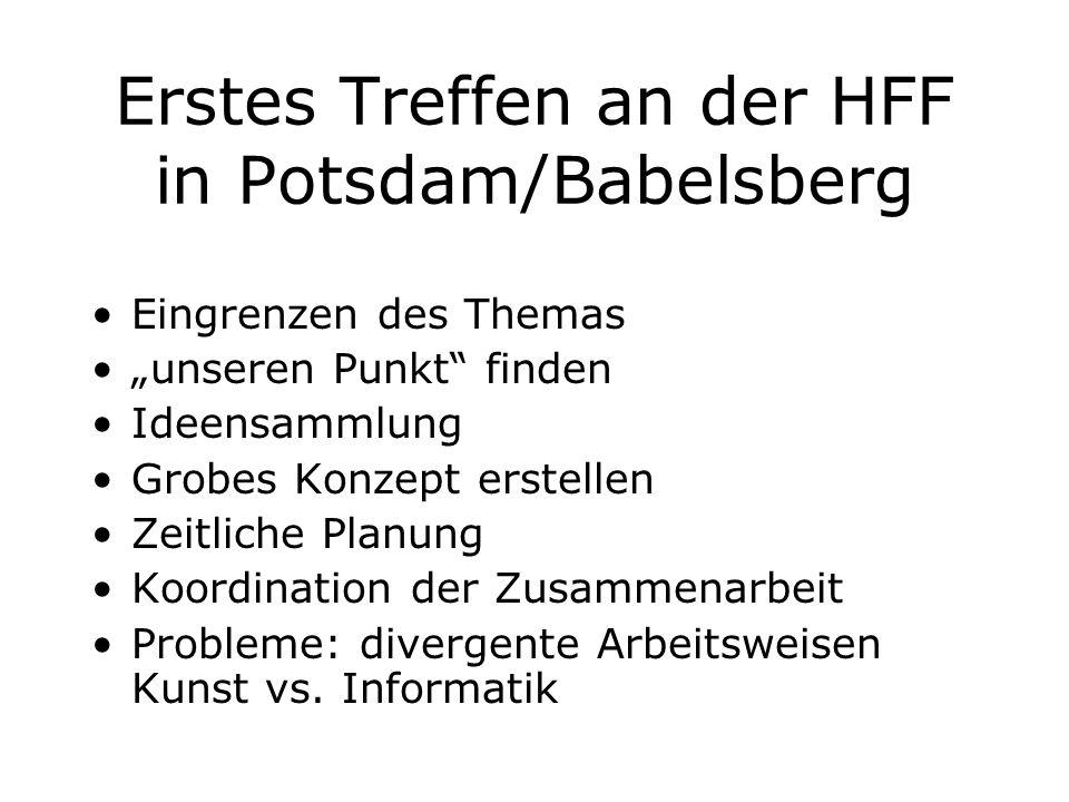 """Erstes Treffen an der HFF in Potsdam/Babelsberg Eingrenzen des Themas """"unseren Punkt"""" finden Ideensammlung Grobes Konzept erstellen Zeitliche Planung"""