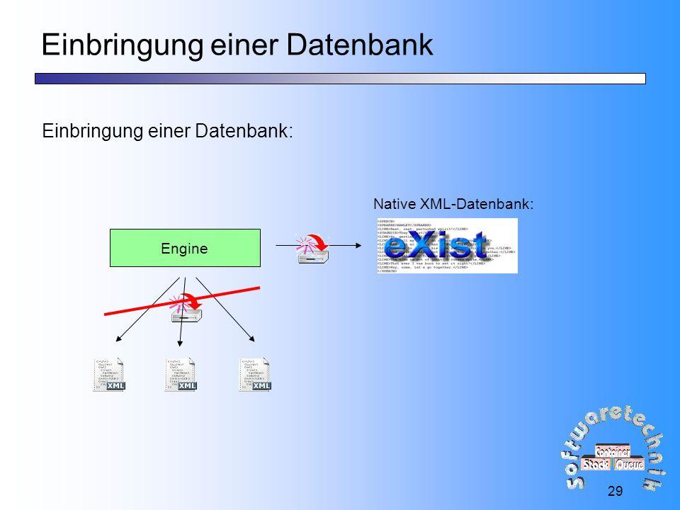 29 Einbringung einer Datenbank Einbringung einer Datenbank: Engine Native XML-Datenbank: