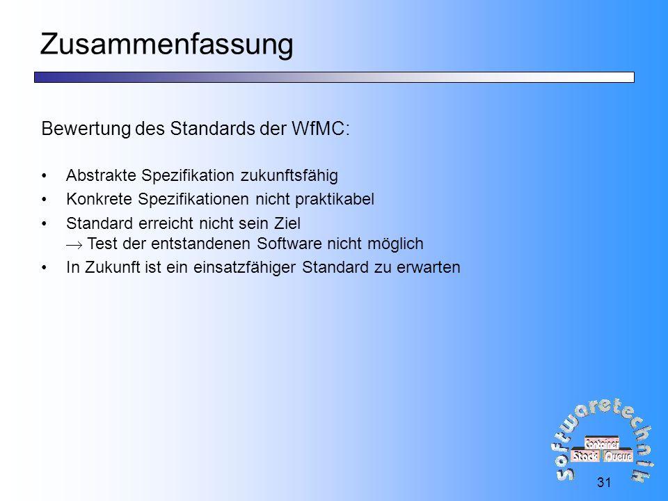 31 Zusammenfassung Bewertung des Standards der WfMC: Abstrakte Spezifikation zukunftsfähig Konkrete Spezifikationen nicht praktikabel Standard erreicht nicht sein Ziel  Test der entstandenen Software nicht möglich In Zukunft ist ein einsatzfähiger Standard zu erwarten
