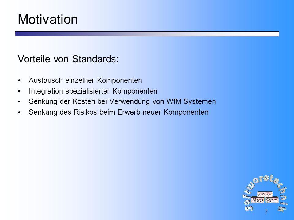 18 Einbringung des WfMC Standards: jFlow jFlow Antwort auf RfP der OMG zur Spezifikation einer WfM Facility Von 19 Firmen konzeptioniert und von 18 weiteren unterstützt Basiert auf dem Referenzmodell der WfMC Spezifiziert Interfaces 2, 4 und 5 in der IDL