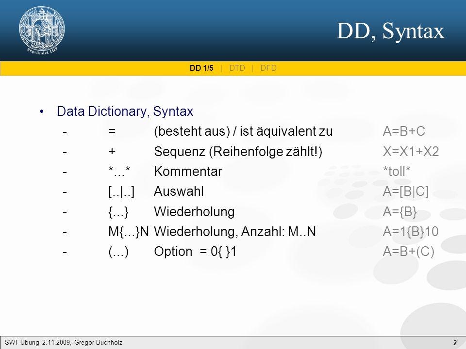 2 DD, Syntax SWT-Übung 2.11.2009, Gregor Buchholz Data Dictionary, Syntax - = (besteht aus) / ist äquivalent zuA=B+C - +Sequenz (Reihenfolge zählt!)X=X1+X2 - *...*Kommentar*toll* - [..|..]AuswahlA=[B|C] - {...}WiederholungA={B} - M{...}NWiederholung, Anzahl: M..NA=1{B}10 - (...)Option= 0{ }1A=B+(C) DD 1/5 | DTD | DFD