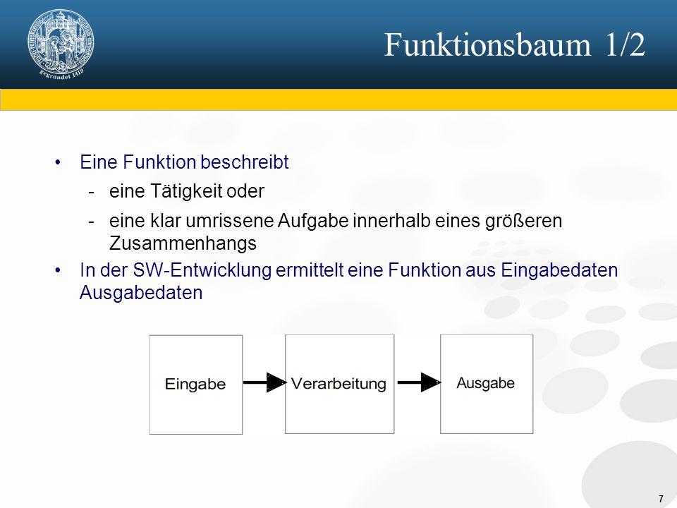 7 Funktionsbaum 1/2 Eine Funktion beschreibt - eine Tätigkeit oder - eine klar umrissene Aufgabe innerhalb eines größeren Zusammenhangs In der SW-Entwicklung ermittelt eine Funktion aus Eingabedaten Ausgabedaten