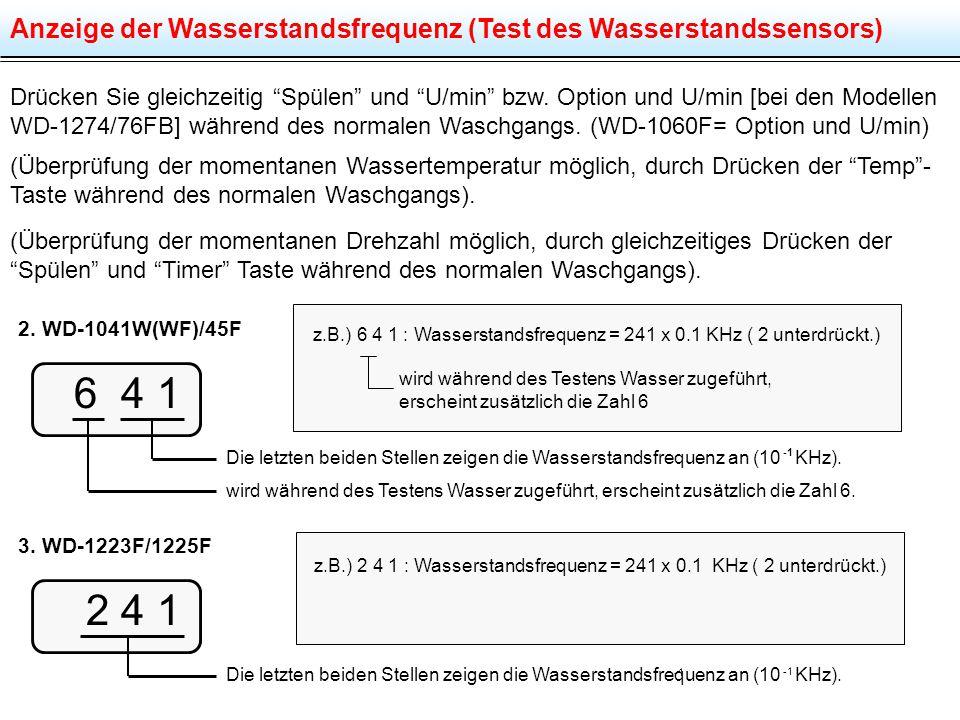"""Anzeige der Wasserstandsfrequenz (Test des Wasserstandssensors) Drücken Sie gleichzeitig """"Spülen"""" und """"U/min"""" bzw. Option und U/min [bei den Modellen"""