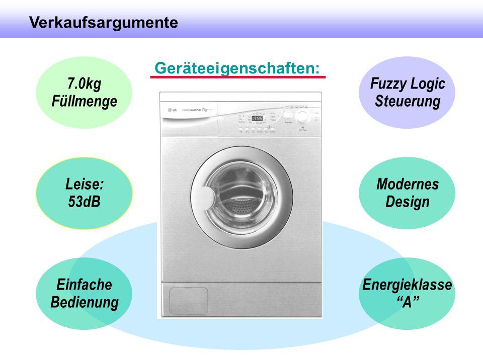 """7.0kg Füllmenge Fuzzy Logic Steuerung Leise: 53dB Modernes Design Verkaufsargumente Geräteeigenschaften: Einfache Bedienung Energieklasse """"A"""""""