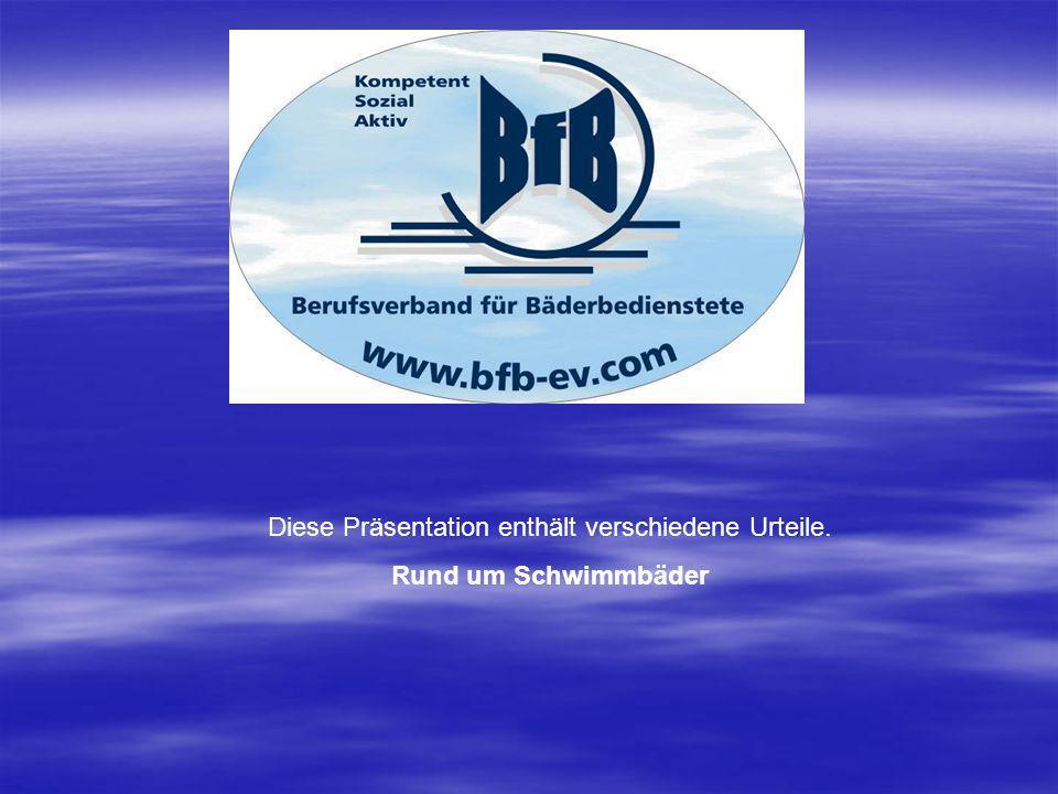 Bundesgerichtshof,VI ZR 158/99 Der Betreiber eines Schwimmbades ist verpflichtet,seinen Aufsichtspersonen Standorte zuzuweisen, von denen aus sie jederzeit in der Lage sind, in kürzester Zeit einzugreifen,um Gefahren von den Badegästen abzuwenden, anderfalls er schadenersatzpflichtig ist.( Hier war ein 11 jähriger Junge fast ertrunken, nachdem er eine Wasserrutsche benutzt hatte, die vom Standort des Schwimmmeisters 35 Meter entfernt war. Landgericht Paderborn, 2 O 20/99 In einem öffentlichen Schwimmbad kann die Kommune nicht dafür sorgen, dass jeder denkbare Unfall ausgeschlossen ist.