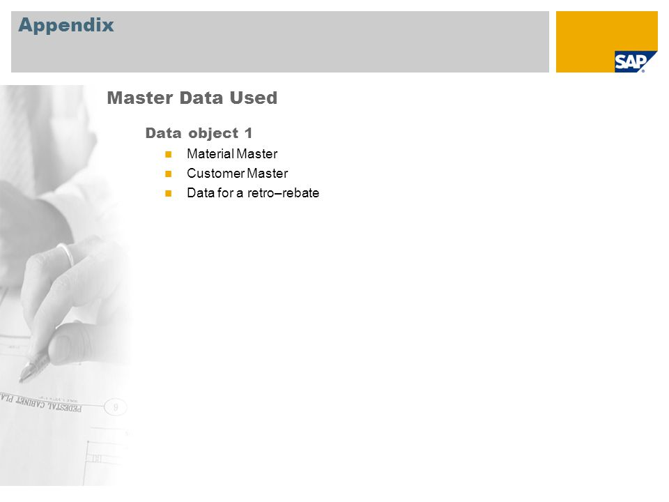 Appendix Data object 1 Material Master Customer Master Data for a retro–rebate Master Data Used