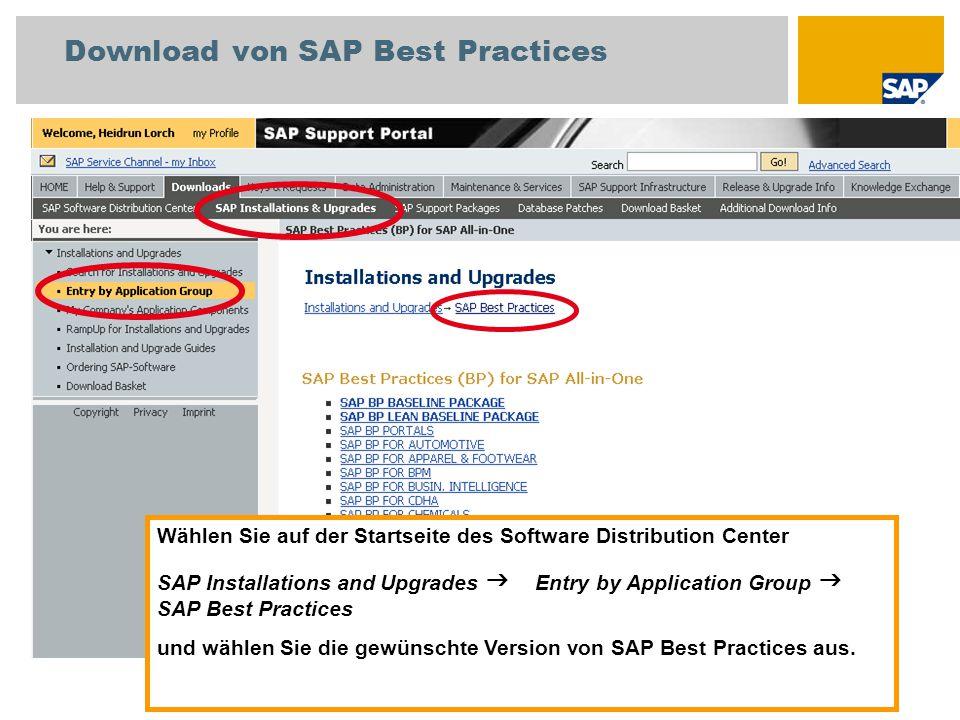 Download von SAP Best Practices Wählen Sie auf der Startseite des Software Distribution Center SAP Installations and Upgrades  Entry by Application Group  SAP Best Practices und wählen Sie die gewünschte Version von SAP Best Practices aus.