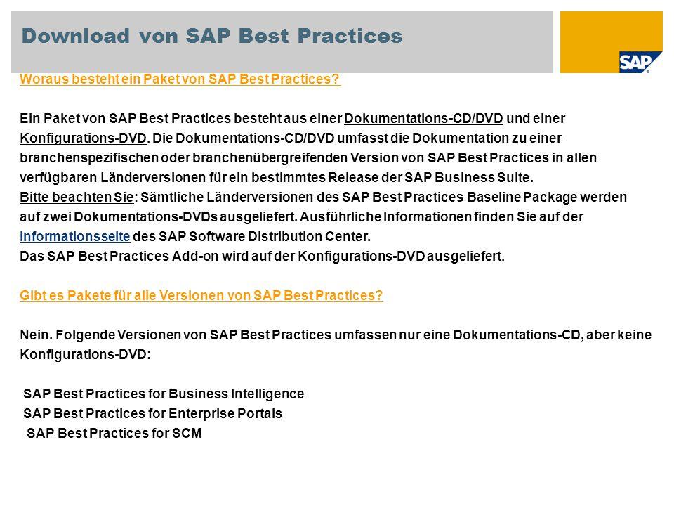 Download von SAP Best Practices Woraus besteht ein Paket von SAP Best Practices? Ein Paket von SAP Best Practices besteht aus einer Dokumentations-CD/