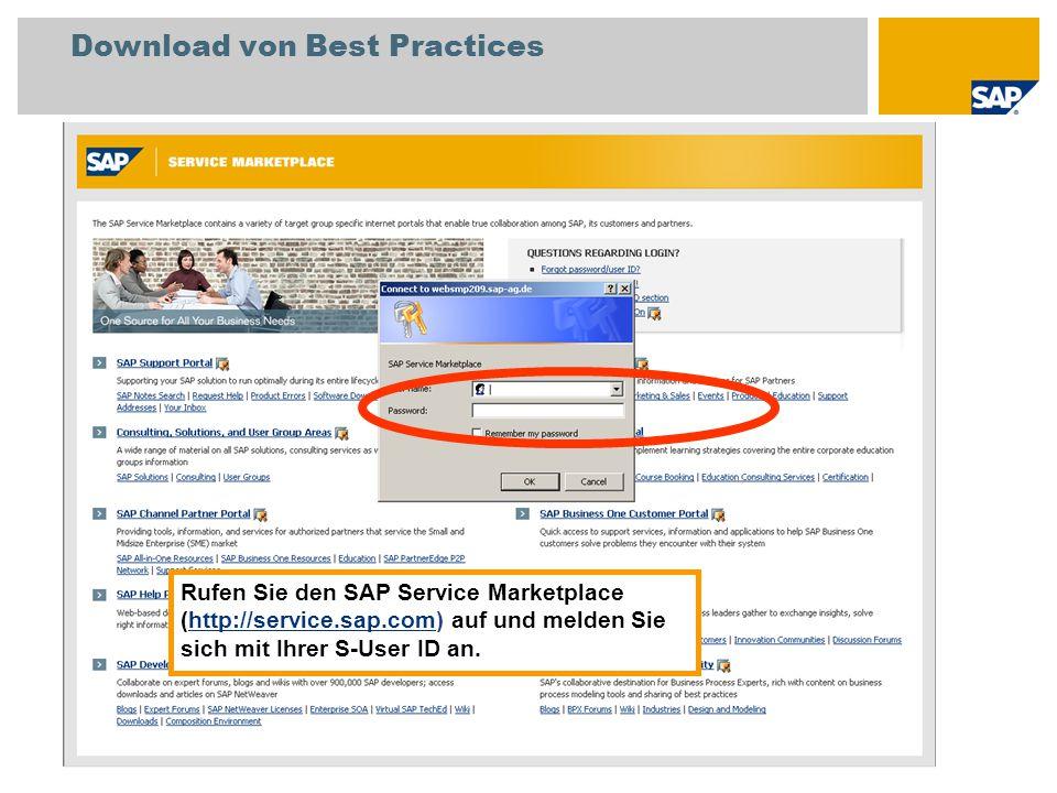 Download von SAP Best Practices Wählen Sie Consulting, Solutions, and User Group Areas.