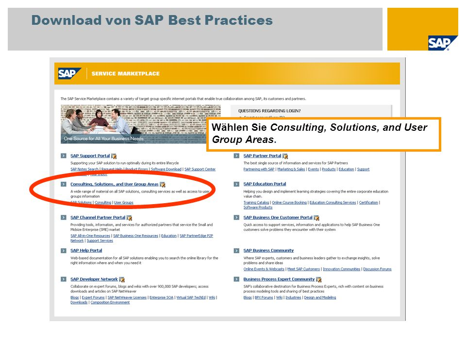 Download von SAP Best Practices Wählen Sie Consulting, Solutions, and User Group Areas.